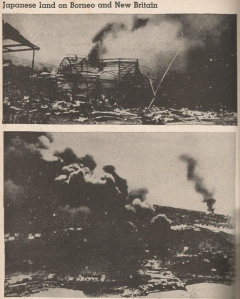 Top - blazing hangers at the airfield at Salamaua Bottom - Balikpapan oil wells set aflame by Dutch forces.