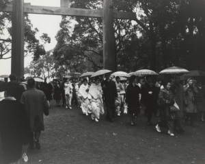 Japanese visiting Yasukuni Jinja during the New Year's period.