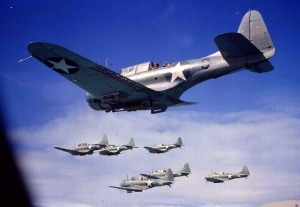 7 SBD Dauntless dive bombers flying in formation