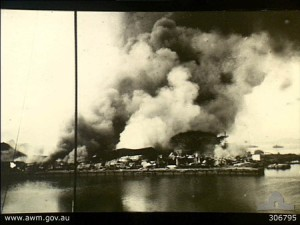 Port facilities at Oosthaven, Sumatra destroyed.