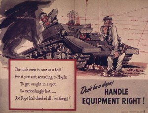 Tank crew poster at Aberdeen training grounds.