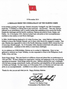 2014 Message from the Commandant of the Marine Corps