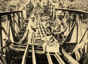 US trained Filipino soldiers prepare to blow a bridge before the enemy reaches them.