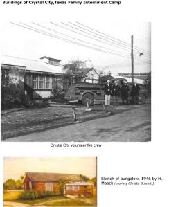 Crystal City, Volunteer Fire Dept. & sketch of cottage homes