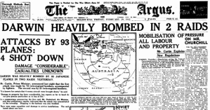 "Melbourne's ""Argus"" headlines, 24 Feb. '42"