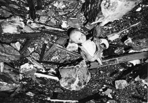 debris in a bomb crater