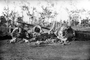 a wrecked Lockheed Hudson