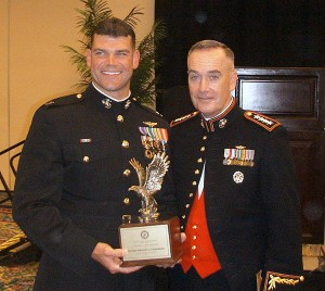 Gen. Joseph F. Dunford, Jr. (R) w/ Capt. Greg Youngberg, of Boynton Bch, FL; Aviator of the Year for USMC