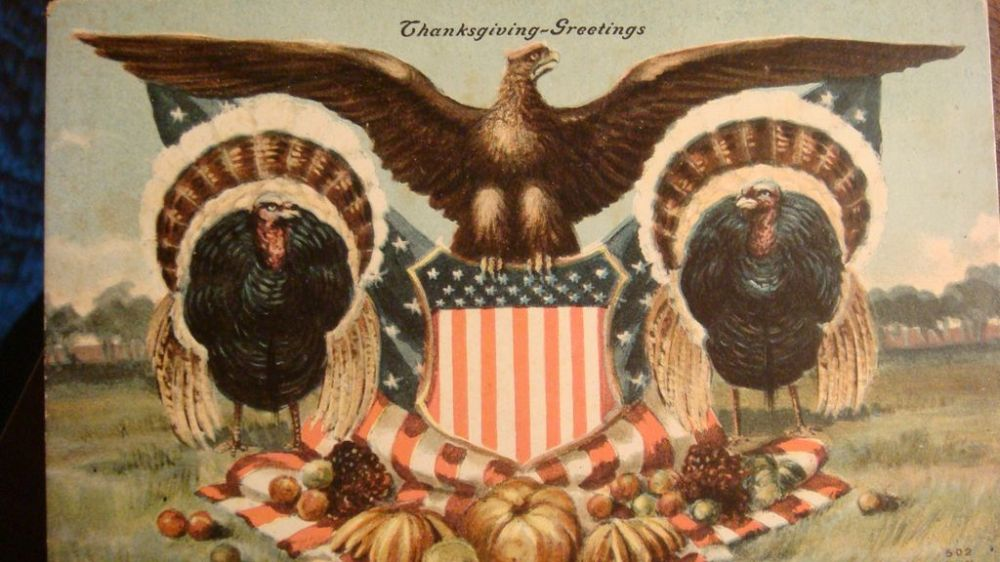 There was a time when people actually sent Thanksgiving cards; few keep up that tradition. Image from Pacific Paratrooper.