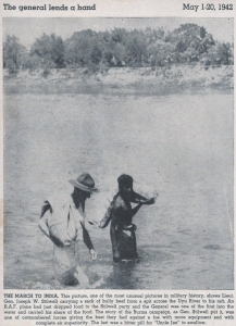 After an RAF plane dropped food, Gen. Stilwell helps to carry some bully beef out of the Uyu River.