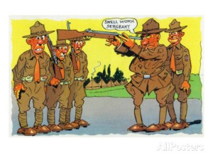 comical-military-cartoon-commander-pointing-gun-in-his-eye-telling-sergeant-swell-work-c-1942