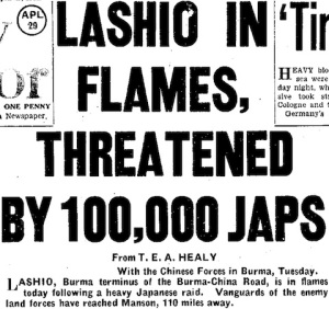 """Daily Mirror"" headlines of 29 April '42, Lashio-Mandalay Railway in danger, enemy 110 miles away!"