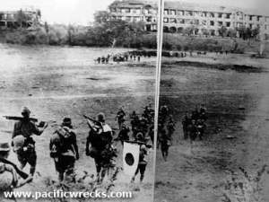Japanese troops headed toward the 'mile-long' barracks