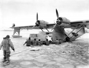 Maneuvering a PBY out of the ice.