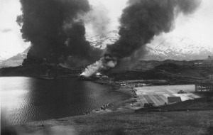 Dutch Harbor, Alaska, 4 June 1942 - shipping and oil storage ablaze