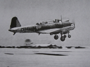 Vought SB2U Vindicator taking off from Midway. The 3rd Marine Sq. of MAG 22 were made up of obsolete Brewster Buffalos and Vindicators.  During the decisive battle of 3-6 June, all Marine aircraft proved ineffective or were destroyed.