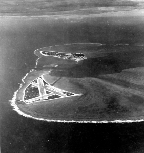 Aidway Atoll airfield; Sand Island is in the background.