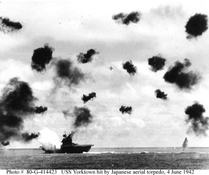 USS Yorktown, first attack