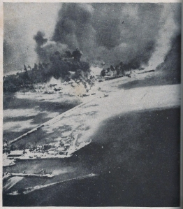 Tanambogo Island, enemy stronghold, bombed before Solomons landings, 7 Aug. 1942