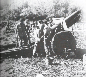 1st Marines us a M1918 155mm howitzer, based on a WWI French design.