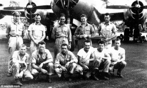 (top-row) Capt. Marvin Watkins, William Fredericks (died in medical experiments), Howard Shingledecker (fate unknown), Charles Kearns (died at crash site), Dale Plambeck (medical experiments), Front-row - Robert Johnson (died at crash site), Teddy Ponczka (medical experiments), Robert Williams (medical experiments), Leon Czarnecki (medical experiments), Leo Oeinck (crash site), John Colehower (medical experiments), 2 others, names unknown, died from medical experiments.