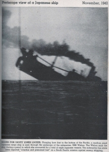 Through the periscope, the USS Wahoo views their Japanese target submerge.