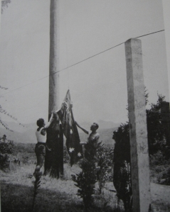 Australian servicemen raise their flag after capturing Kokoda from the enemy