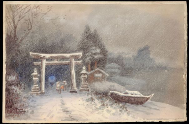 'Shrine Entrance in Snowstorm' by Tosuke S.