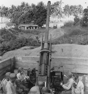 #rd Defense Batt. fire a 90mm antiaircraft gun, Guadalcanal