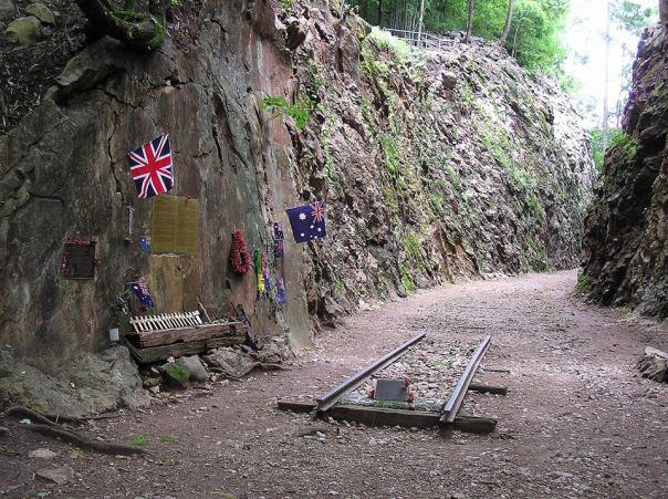 A memorial in Hellfire Pass