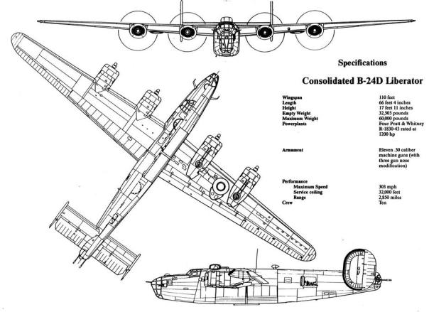 b-24 liberator line drawing