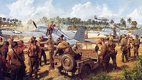 """Warm Reception"" by Jim Dietz of the Guadalcanal Cactus Air Force."