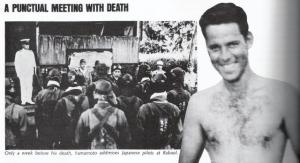 Yamamoto, one week before his death. (L) Pilot, Thomas Lanphier Jr. (R)