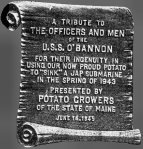 Plaque given to the O'Bannon