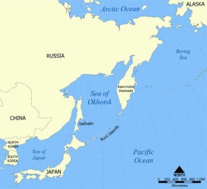 Kuril Islands stretching from Japan to