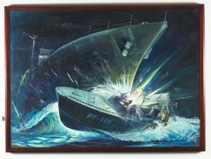 IJN Amagiri & PT-109; US Navy painting