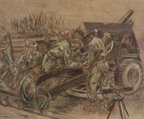 Australian troops with a 25-pounder