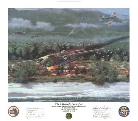 Art print of Ralph Cheli's B-25 going down over New Guinea. Painted by Steve Ferguson, sold by IHRA