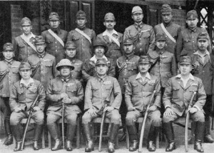 Japanese CBI Command - L to R in front row: Generals Yanagida (33rd Div); Tanaka (18th Div); Mutaguchi (15th Army); Matsuyama (56th Div) & Sato (31st Div)