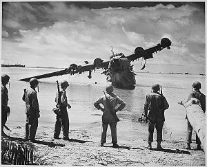 Japanese Kawanishi H8K seaplane downed after strafing the beach of Kwajalein.