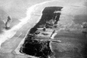 Ebeye Iland being shelled, 1944