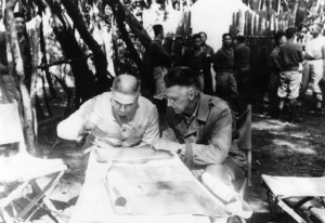 Gen. Stilwell & Gen. Liao Yueh-shang, Cmdr of the 22nd Chinese Div. discuss plans.