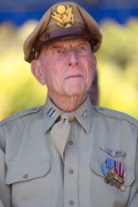 Retired U.S. Army Air Corps Capt. Jerry Yellin attends the 71st Commemoration of the Battle of Iwo Jima at Iwo To, Japan, March 19, 2016. The Iwo Jima Reunion of Honor is an opportunity for Japanese and U.S. veterans and their families, dignitaries, leaders and service members from both nations to honor the battle while recognizing 71 years of peace and prosperity in the U.S. – Japanese alliance. (U.S. Marine Corps photo by MCIPAC Combat Camera Lance Cpl. Juan Esqueda / Released)