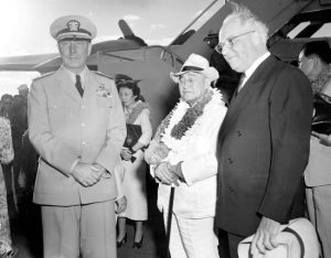 Aug. 31, 1951, then-Japanese Prime Minister Shigeru Yoshida, center right, accompanied by his daughter, Kazuko, center left, is greeted by Adm. Arthur Radford, left, commander of the U.S. Pacific Fleet, and Joseph R. Farrington, a delegate of the U.S. Congress for the Territory of Hawaii, during an arrival ceremony for Yoshida in Honolulu. The Yomiuri Shimbun newspaper reported that Yoshida had stopped in Hawaii in 1951.