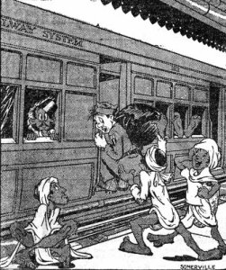 Louie leaving for a change & rest - the bearers have all his change and the railroad got the rest !