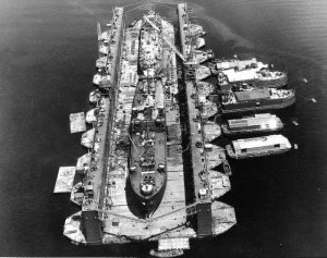 SS Artisan (ABSD-1) w/ Antelope (1X-109) & LST-120 in the dock at Espiritu Santo, 8 January 1945