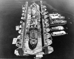 SS Artisan (ABSD-1) w/ Antelope (1X-109) & LST-120 in the dock at Espiritu Santo, 8 January 1945