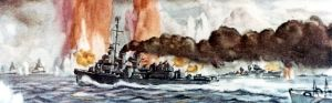 USS Heermann at Battle of Samar, by: Dwight Shepler