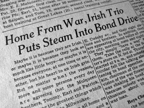 The Milwaukee Journal carried a front-page story on the Mulqueen brothers and the war bond drive in November 1944.